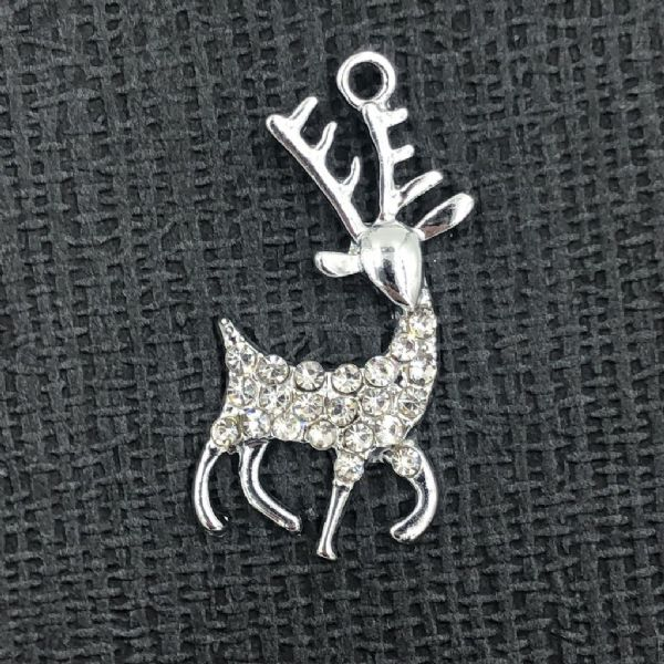 Crystal reindeer charm - rhodium - 21mm x 30mm